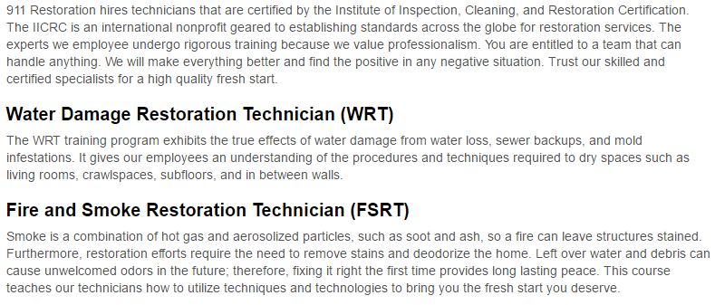 911 Restoration of Atlanta Certification Page