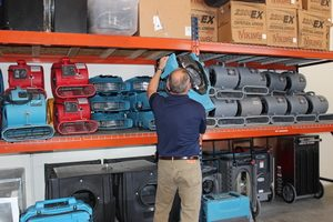 Water Damage Calhoun Technician Prepping Air Movers
